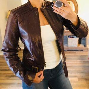 Bebe brown leather crop buckle  jacket M